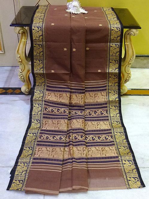 Bengal Handloom Cotton Baluchari Saree with Starch in English Brown and Black