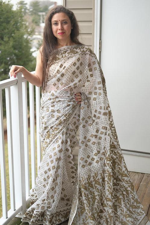 Soft Jamdani Saree in White and Hena Green
