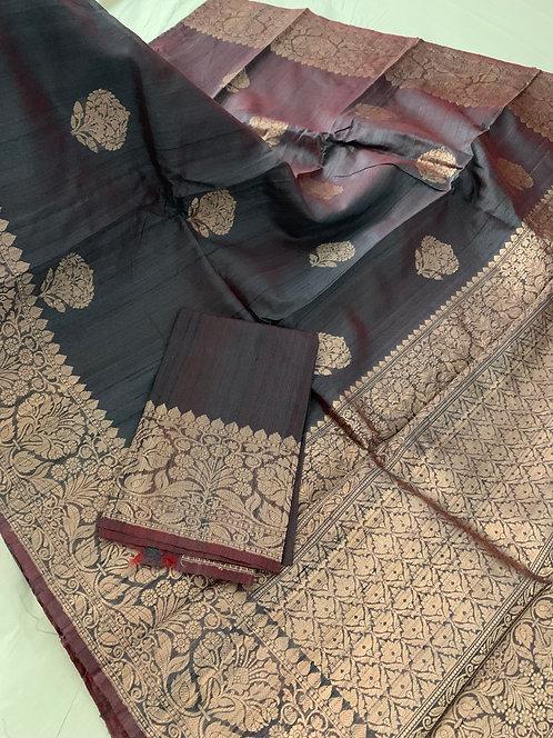 Pure Tussar Banarasi Saree in English Brown