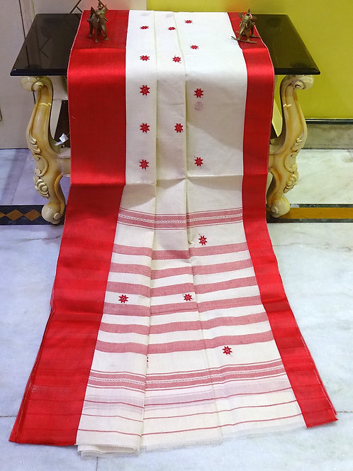 Bengal Handloom Satin Border Bengali Cotton Saree with Starch in White and Red