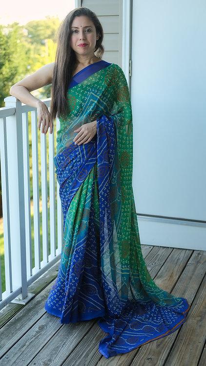 Printed Bandhani Saree in Blue and Green