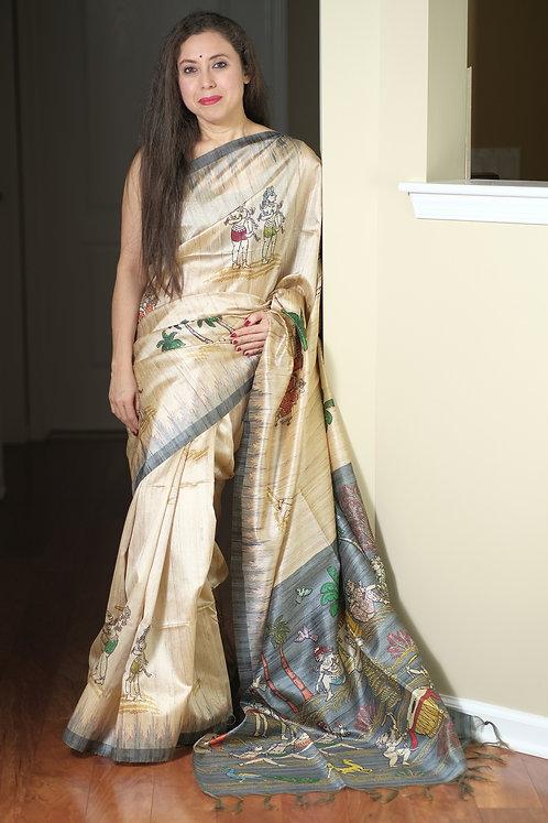 Art Silk Printed Gicha Tussar Saree in Beige and Gray