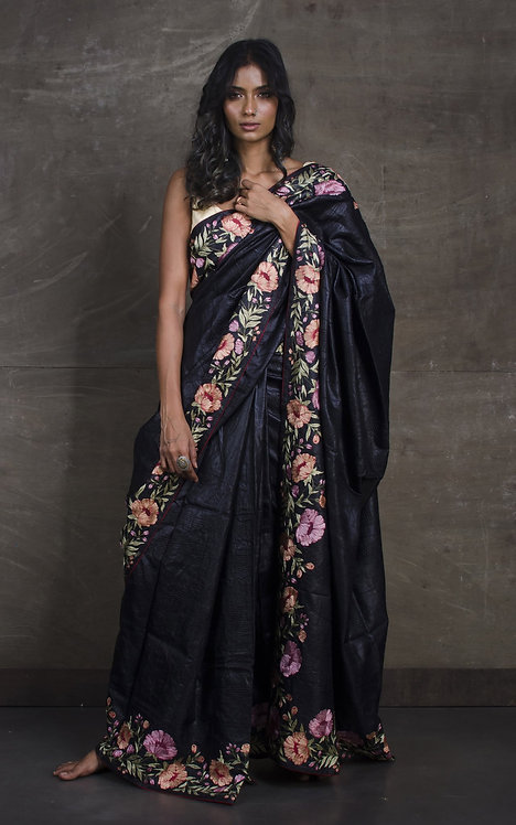 Pure Tussar Embroidery Saree with Work All Over the Body in Black