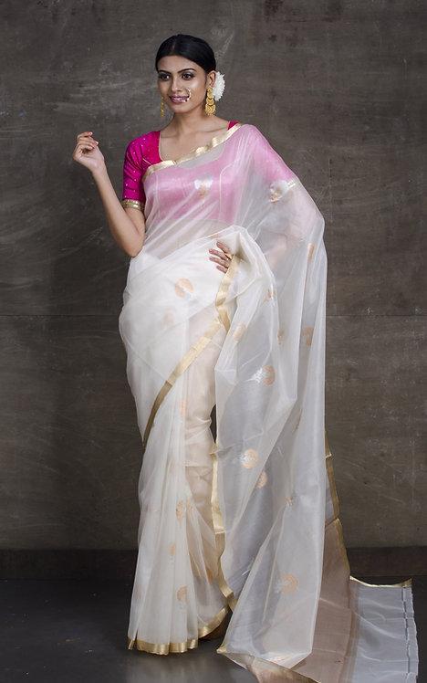 Pure Kora Banarasi Saree in Off White, Silver and Gold