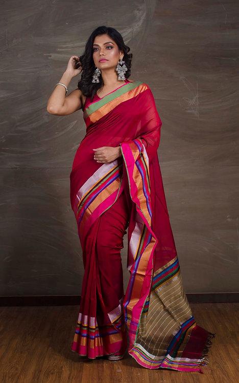 Maheshwari Cotton Silk Saree in Dark Red