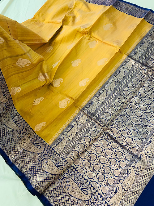 Pure Tussar Banarasi Saree in Mustard Yellow and Dark Blue