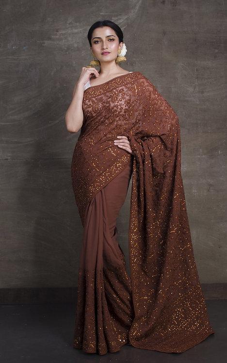 Lucknow Chikankari Designer Saree in Brown