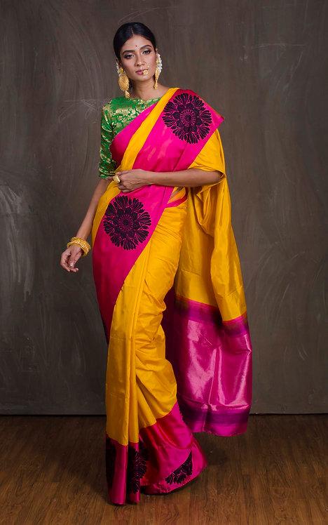 Katan Silk Banarasi Saree in Yellow, Black and Magenta