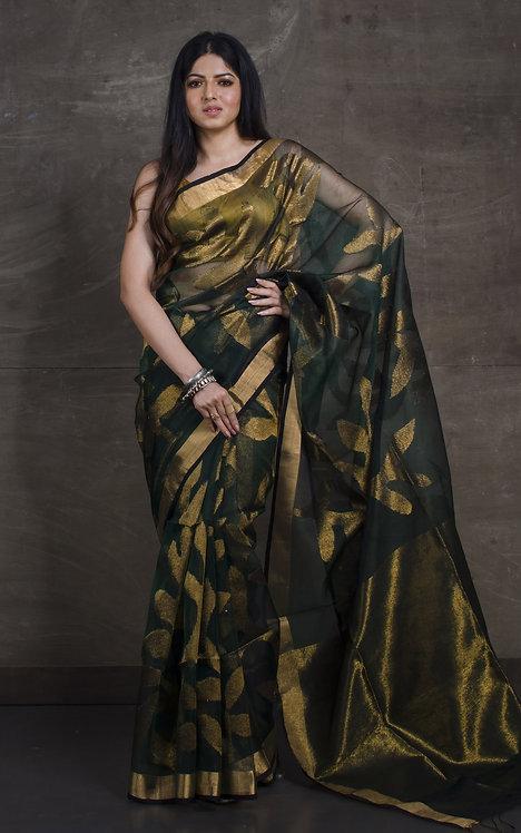 Muslin Jamdani Saree in Dark Green and Gold