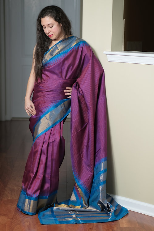 Gadwal Silk Saree with Checks in Purple, Blue and Gold