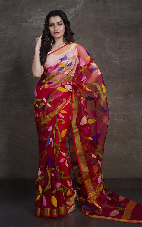 Muslin Jamdani Saree in Red and Gold