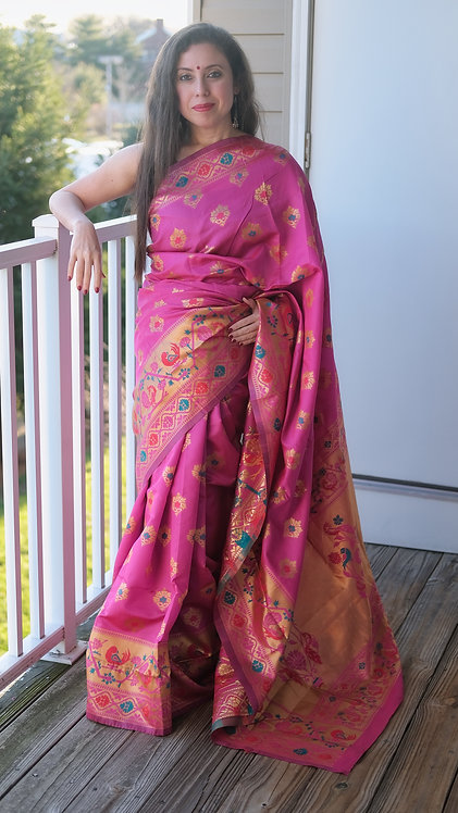 Art Silk Paithani Saree in Hot Pink