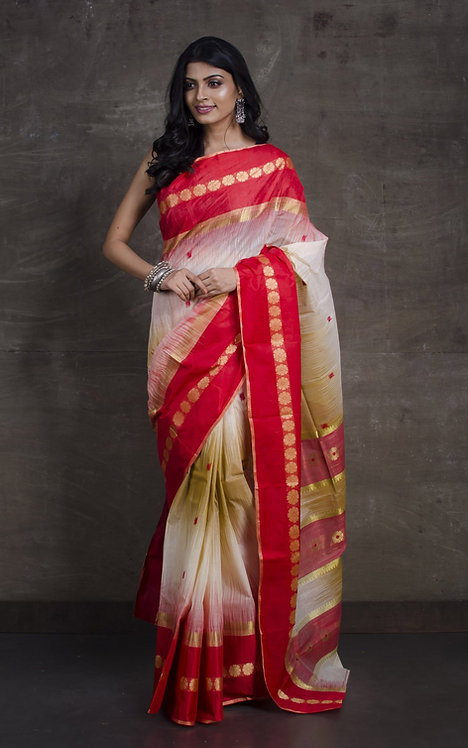 Bengal Handloom Tussar Saree with Starch in Beige, Red and Gold