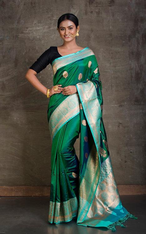 Pure Silk Katan Banarasi Saree in Green and Sky Blue