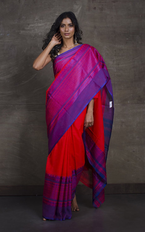 Soft Cotton Saree with Wide Border in Red and Blue