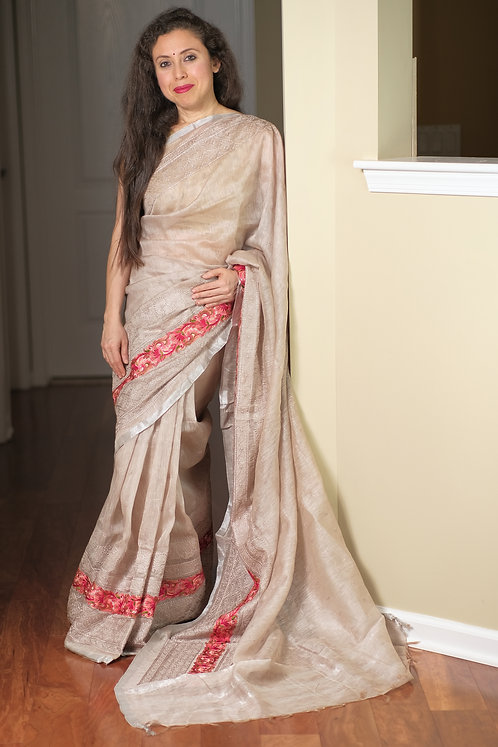 Exclusive Silk Linen Embroidery Saree in English Brown and Silver