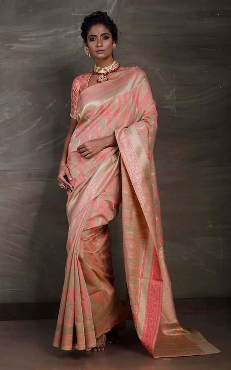 Designer Jute Cotton Banarasi Saree in Beige and Peach