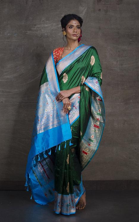 Minakari Banarasi Silk Saree in Dark Green and Blue