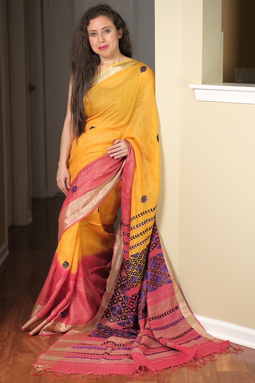 Exclusive Pure Linen Kantha Embroidery Saree in Yellow, Pink and Blue