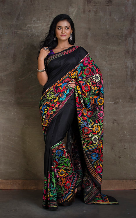 Pure Silk Hand Embroidered Kantha Stitch Saree in Black and Multi Color