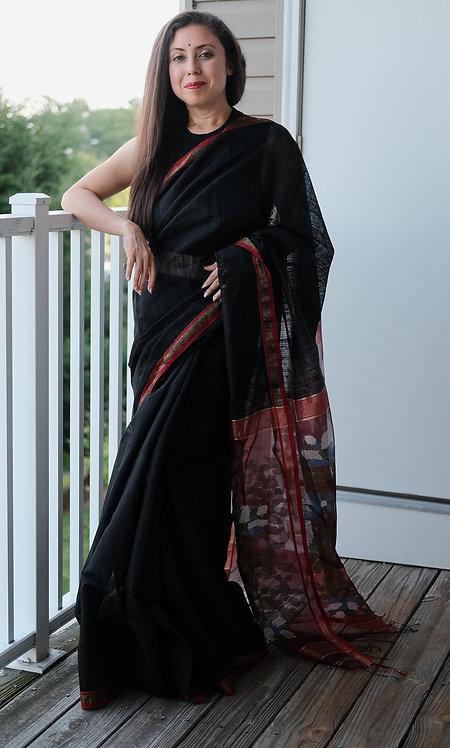 Pure Matka Tussar Silk Saree in Black and Red