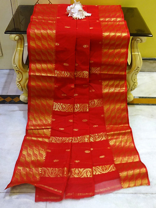 Bengal Handloom Cotton Tangail Saree with Starch in Red and Gold