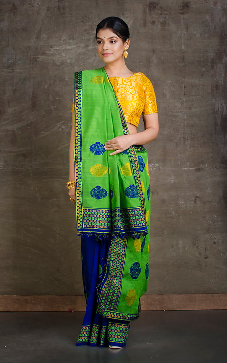 Mekhela Chador in Green and Blue