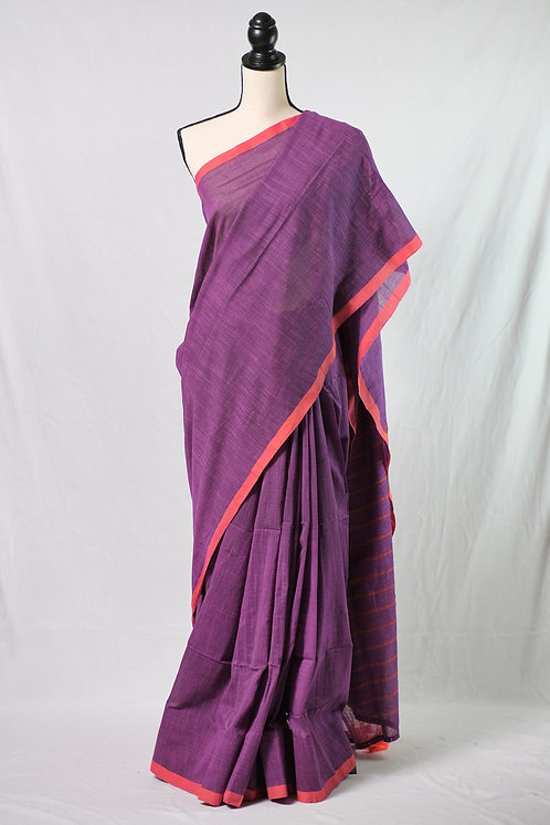 Handwoven Pure Soft Cotton Saree in Violet and Orange