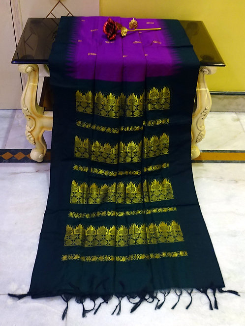 Soft South Cotton Gadwal Saree in Purple and Black