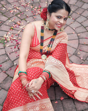 Tima from New Jersey in her Pure Khaddi Georgette Banarasi Sari from Bengal Looms