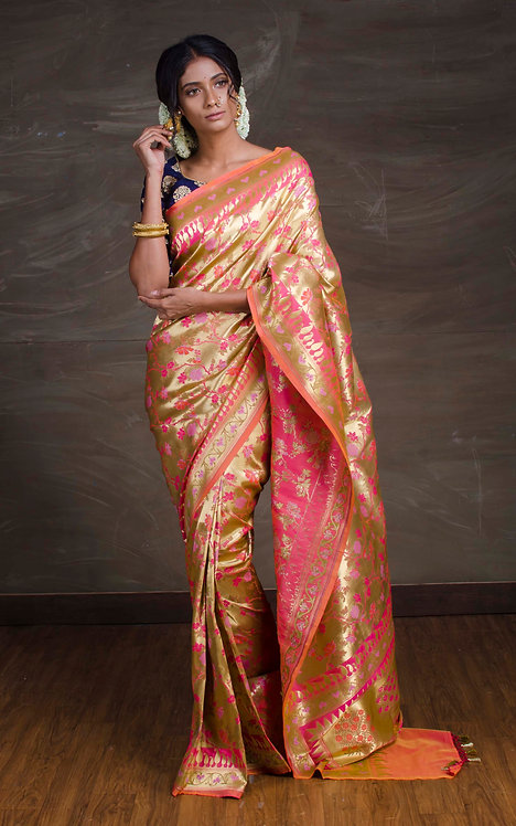 Katan Brocade Minakari Banarasi Saree in Gold and Pink