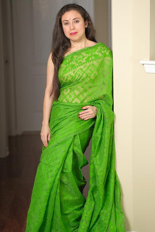 Soft Jamdani Saree in Green