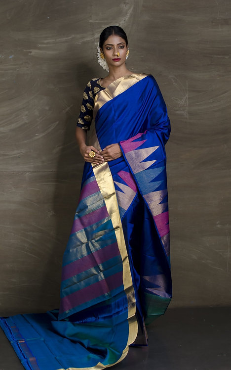 Exclusive Kanjeevaram Silk Saree with Temple Border in Royal Blue and Gold