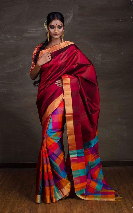 Patli Pallu Kanchipuram Silk Saree in Maroon