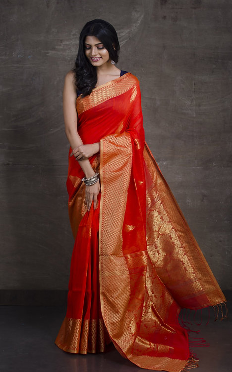 Pure Cotton Linen Banarasi Saree in Sunset Orange and Gold