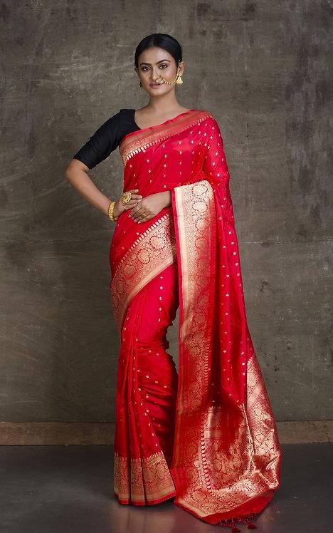 Pure Katan Banarasi Silk Saree in Red and Gold