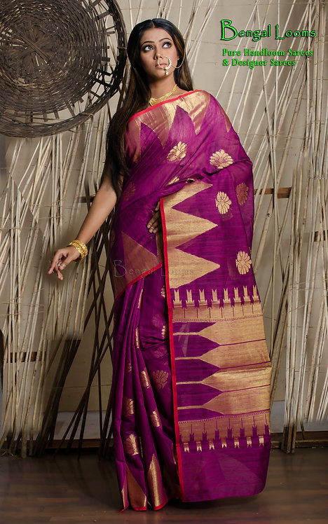 Cotton Banarasi Saree in Purple and Gold