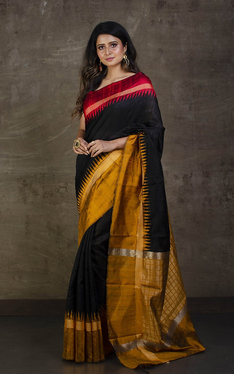 Pure Raw Silk with Temple Border Saree in Black, Red and Mustard Golden