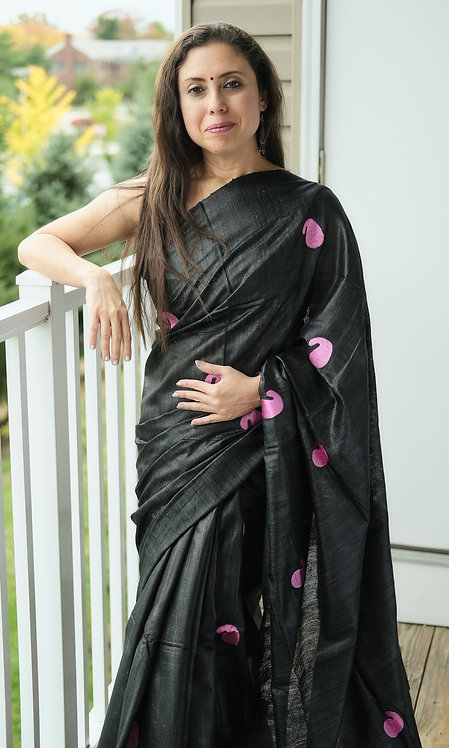 Embroidered Gicha Tussar Saree in Black and Pink