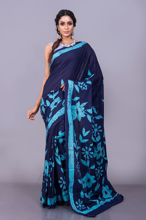 Pure Hand Batik Cotton Saree in Navy Blue and Sky Blue