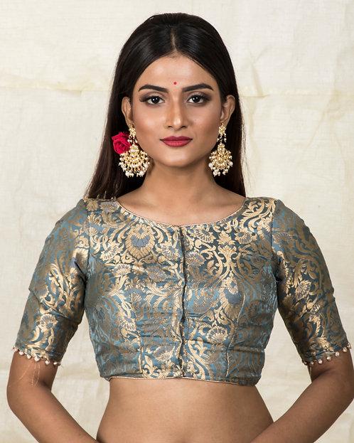 Gray Designer BanarasiBlouse in Size 32