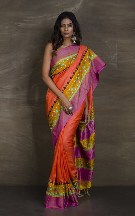 Designer Tussar Silk Saree with Kantha Embroidery in Orange and Pink