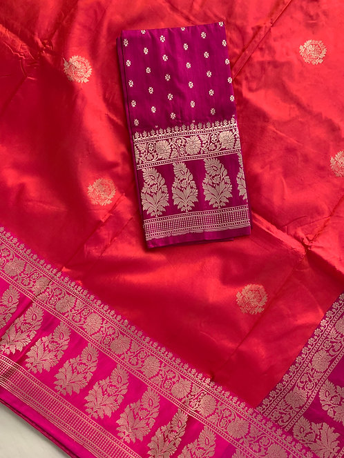 Pure Katan Banarasi Silk Saree in Peachy Orange and Hot Pink