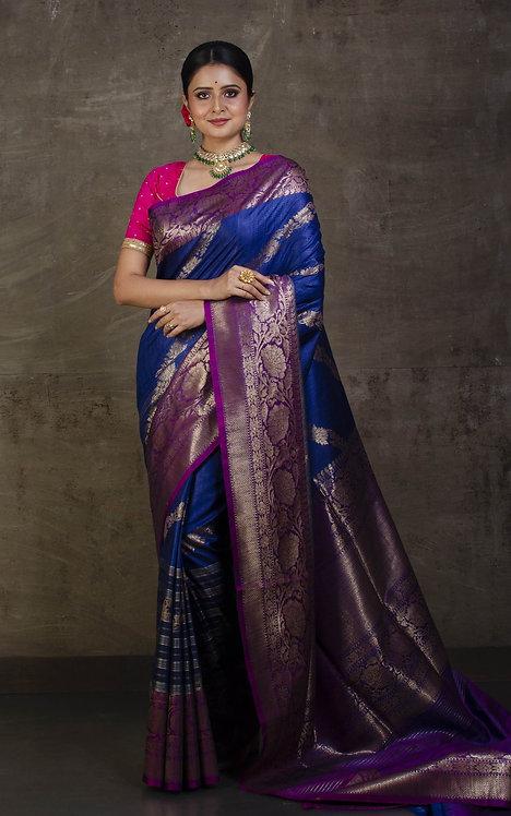 Dupion Stripes Tussar Banarasi Saree in Dark Blue