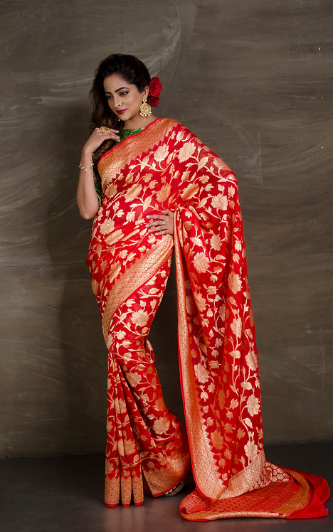 Pure Georgette Jaal Work Banarasi Saree in Bright Red and Gold