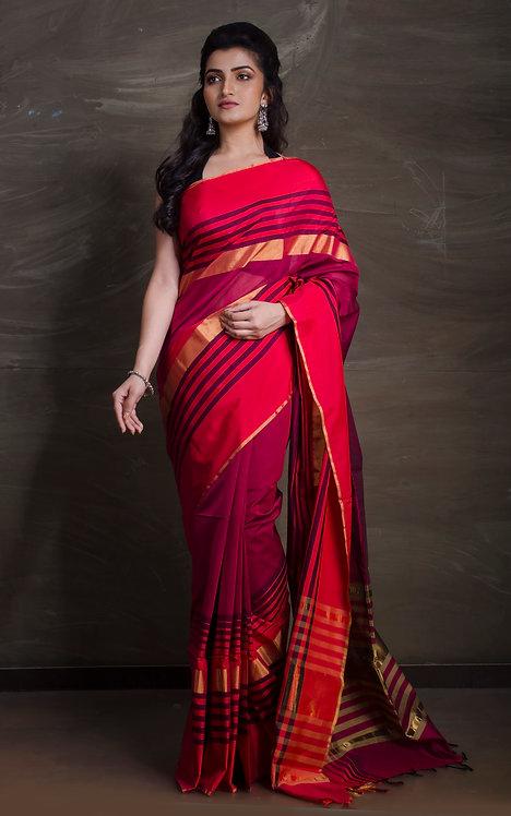 Maheshwari Cotton Silk Saree in Dark Pink and Red