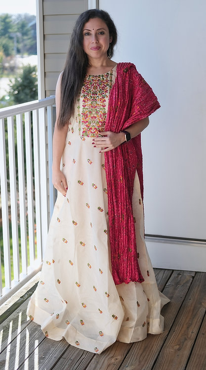 Cotton Silk Indian Long Gown with Bandhani  Dupatta in Cream