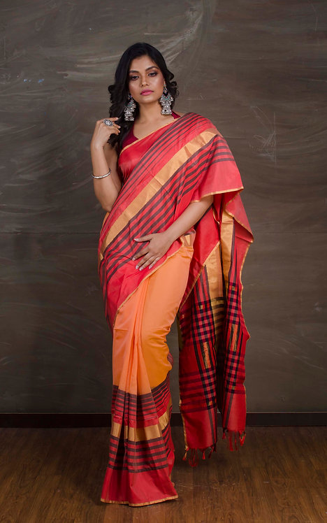 Maheshwari Saree in Orange, Red and Gold