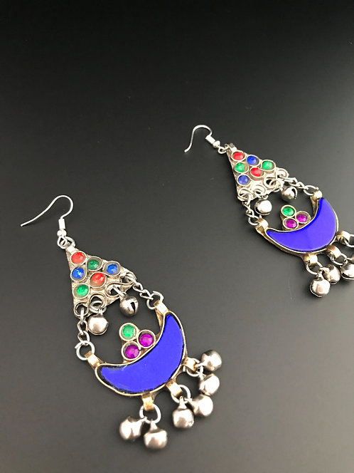 Afghan Earrings with Blue Glass Stones