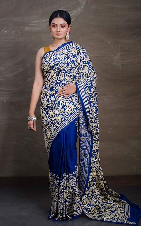 Pure Silk Hand Stitched Kantha Embroidery Saree in Blue and Yellow